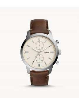 FOSSIL TOWNSMAN CHRONO STAINLESS STEEL WATCH WITH BROWN LEATHER STRAP