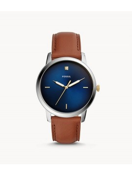 FOSSIL THE MINIMALIST CARBON SERIES THREE BALLS STAINLESS STEEL WATCH WITH LEATHER COLOR STRAP