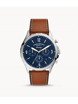 FOSSIL FORRESTER CHRONO STAINLESS STEEL WATCH WITH LEATHER COLOR LEATHER STRAP