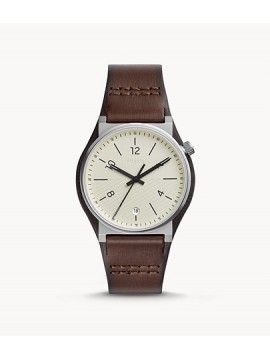 FOSSIL BARSTOW THREE BALLS STAINLESS STEEL WATCH WITH BROWN LEATHER STRAP