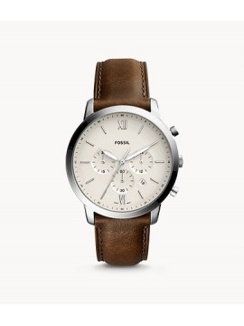 FOSSIL NEUTRA CHRONO STAINLESS STEEL WATCH WITH BROWN LEATHER STRAP