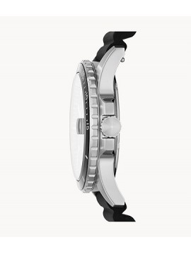 FOSSIL FB-01 THREE BALLS STAINLESS STEEL WATCH WITH BLACK SILICONE STRAP