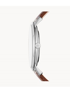 FOSSIL THE MINIMALIST THREE BALLS STAINLESS STEEL WATCH WITH BROWN LEATHER STRAP