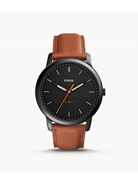FOSSIL THE MINIMALIST THIN BLACK STAINLESS STEEL WATCH WITH BROWN LEATHER STRAP