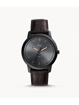 FOSSIL THE MINIMALIST THREE BALLS STAINLESS STEEL BLACK WATCH WITH BROWN LEATHER STRAP