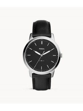 FOSSIL THE MINIMALIST THREE BALLS STAINLESS STEEL WATCH WITH BLACK LEATHER STRAP