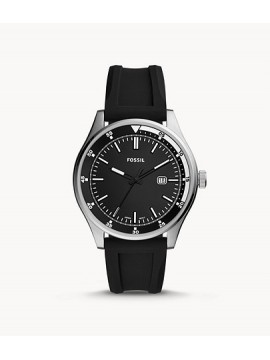 FOSSIL BELMAR THREE BALLS STAINLESS STEEL WATCH WITH BLACK SILICONE STRAP