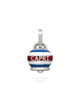 CHANTECLER  ET VOILÀ CAPRINESS MEDIUM BELL PENDANT IN SILVER AND WHITE AND BLUE ENAMEL