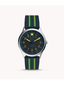 FOSSIL FORRESTER THREE BALLS STAINLESS STEEL WATCH WITH BLUE STRIPED SILICONE STRAP