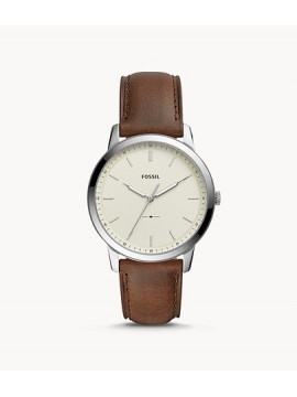 FOSSIL THE MINIMALIST THREE BALLS STEEL WATCH WITH BROWN LEATHER STRAP