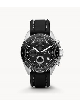 FOSSIL DECKER CHRONO STAINLESS STEEL WATCH WITH BLACK SILICONE STRAP