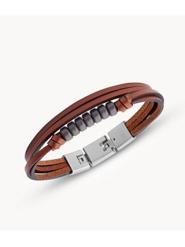 FOSSIL MEN'S VINTAGE CASUAL BRACELET IN LEATHER BROWN STEEL AND HEMATITE