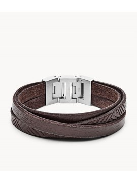 FOSSIL MAN BRACELET WITH MULTIPLE BANDS IN WORKED BROWN LEATHER