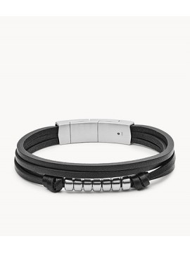 FOSSIL MEN'S MULTIWIRE BRACELET IN BLACK LEATHER AND STEEL
