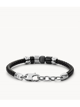 FOSSIL MEN'S VINTAGE CASUAL BRACELET IN BLACK LEATHER AND WITH STEEL WASHER BEADS