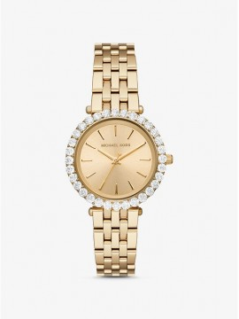 MICHAEL KORS DARCI WOMAN WATCH IN GOLD AND PAVÉ STEEL