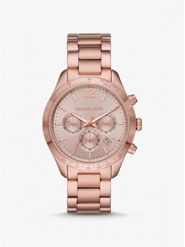 MICHAEL KORS LAYTON CHRONOGRAPH WATCH IN STAINLESS STEEL PALE PINK GOLD TONE