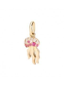DODO JELLYFISH PENDANT IN 18K YELLOW GOLD DIAMONDS AND RED SPINEL