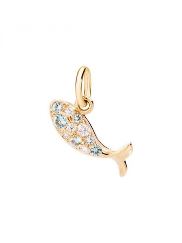 DODO PRECIOUS FISH PENDANT IN 18K YELLOW GOLD DIAMONDS AND BLUE SAPPHIRES