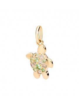 DODO TURTLE PENDANT IN 18K YELLOW GOLD DIAMONDS BROWN AND TSAVORITE