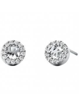 MICHAEL KORS LOBO EARRINGS WITH MK LOGO IN 925 SILVER AND CRYSTALS