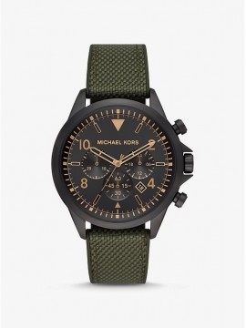 MICHAEL KORS GAGE CHRONOGRAPH WATCH IN BLACK STEEL AND NYLON STRAP AND GREEN SILICONE