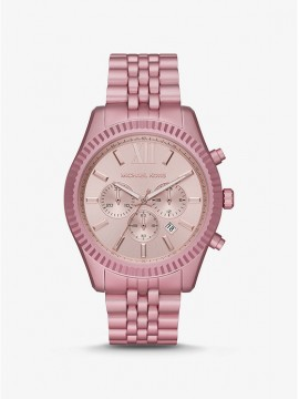 MICHAEL KORS LEXINGTON PINK ALUMINUM CHRONOGRAPH WATCH
