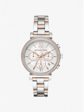MICHAEL KORS SOFIE CHRONO WOMEN'S WATCH IN TWO-TONE STEEL WITH PAVÉ