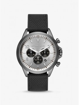 MICHAEL KORS GAGE CHRONOGRAPH WATCH IN STAINLESS STEEL RIFLE BARREL AND BLACK FABRIC STRAP
