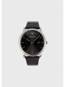 EMPORIO ARMANI LUIGI STAINLESS STEEL WATCH WITH BLACK LEATHER STRAP