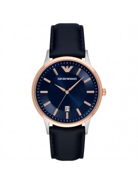 EMPORIO ARMANI RENATO TWO-TONE SILVER AND ROSE STEEL WATCH WITH BLUE LEATHER STRAP