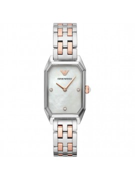 EMPORIO ARMANI WOMAN WATCH IN TWO-TONE STEEL AND RECTANGULAR CASE