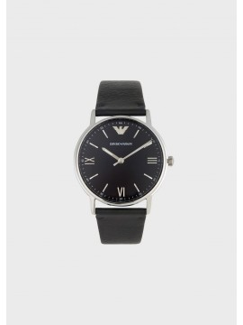 EMPORIO ARMANI WATHER RESISTANT STAINLESS STEEL WATCH WITH BLACK LEATHER STRAP
