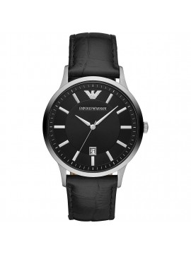 EMPORIO ARMANI RENATO STAINLESS STEEL WATCH AND BLACK LEATHER STRAP