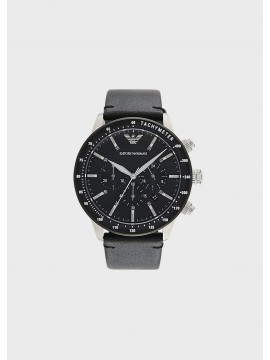 EMPORIO ARMANI STAINLESS STEEL CHRONOGRAPH WATCH WITH BLACK LEATHER STRAP