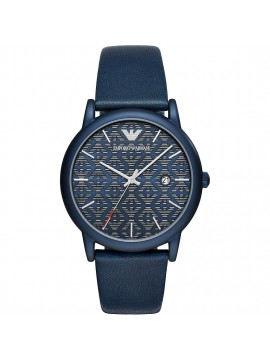 EMPORIO ARMANI MATT BLUE STEEL WATCH WITH BLUE LEATHER STRAP