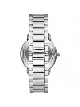 EMPORIO ARMANI STAINLESS STEEL WATCH WITH MIXED FINISH AND BLUE DIAL