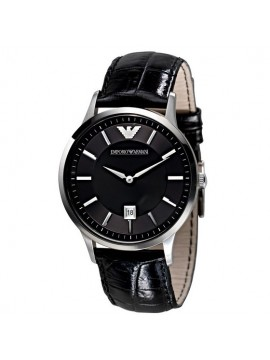 EMPORIO ARMANI RENATO STAINLESS STEEL WATCH WITH BLACK LEATHER STRAP