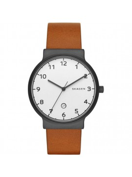 SKAGEN ANCHER BLACK SATIN STAINLESS STEEL WATCH AND BROWN LEATHER STRAP