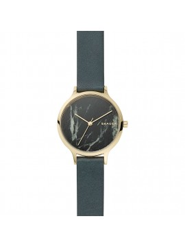 SKAGEN ANITA WOMAN WATCH IN STAINLESS STEEL GOLD TONE AND GREEN LEATHER STRAP