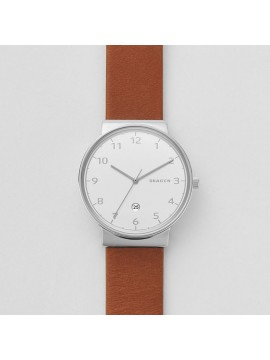 SKAGEN ANCHER STAINLESS STEEL WATCH AND BROWN LEATHER STRAP