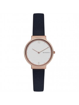 SKAGEN ANCHER WOMAN WATCH IN ROSE GOLD TONE STEEL AND BLUE LEATHER STRAP