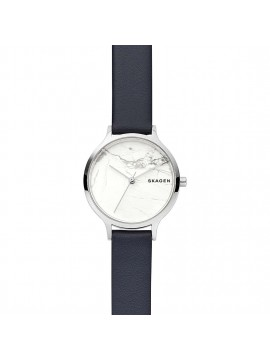 SKAGEN ANITA WOMAN WATCH IN STAINLESS STEEL SILVER SHADES WITH BLUE LEATHER STRAP