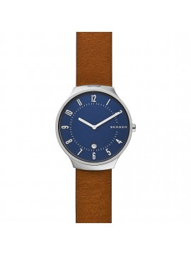 SKAGEN GRENEN STAINLESS STEEL WATCH AND BROWN LEATHER STRAP