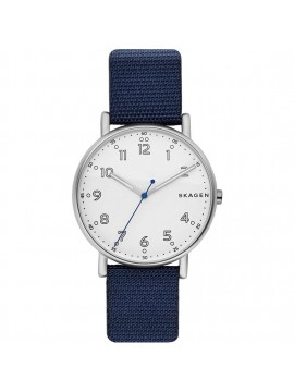 SKAGEN STAINLESS STEEL WATCH AND BLUE NYLON STRAP