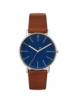 SKAGEN SIGNATUR STAINLESS STEEL WATCH AND BROWN LEATHER STRAP
