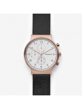 SKAGEN ANCHER CHRONOGRAPH WATCH IN ROSE GOLD TONE STEEL AND BROWN LEATHER STRAP