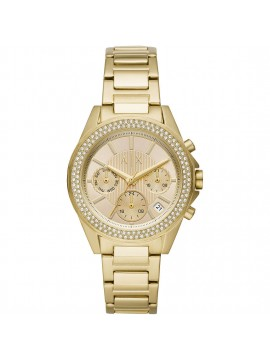 ARMANI EXCHANGE WOMAN MULTIFUNCTION STAINLESS STEEL WATCH GOLD TONE
