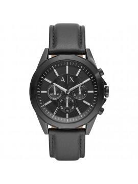 ARMANI EXCHANGE CHRONOGRAPH WATCH IN BLACK STAINLESS STEEL AND BLACK LEATHER STRAP