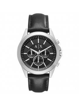 ARMANI EXCHANGE DREXLER CHRONOGRAPH WATCH IN STAINLESS STEEL AND BLACK LEATHER STRAP